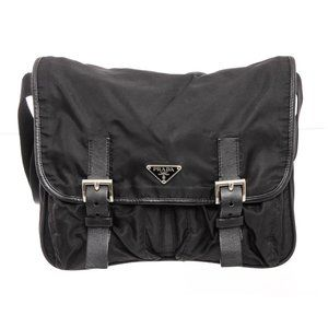 Prada Black Nylon Vela Messenger Crossbody Bag